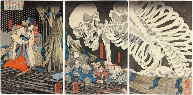 An example of the first artistic depiction of a giant skeleton like the Gashadokuro