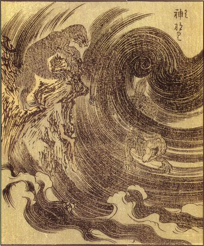 The Raiju from Ehon Hyaku Monogatari, by Takehara Shunsen